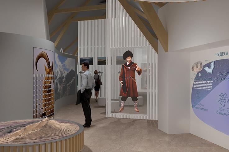 Изготовлению музейных экспонатов и мультимедийных инсталляций для визит-центра «Сарыкумские барханы»